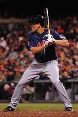 June 24, 2011; San Francisco, CA, USA; Cleveland Indians second baseman Cord Phelps (35) at bat during the ninth inning against the San Francisco Giants at AT&T Park. The Giants defeated the Indians 4-3. Mandatory Credit: Kyle Terada-US PRESSWIRE