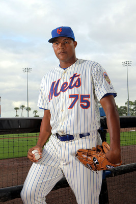 PORT ST. LUCIE, FL - MARCH 02: Jeurys familia #75  of the New York Mets poses for photos during MLB photo day on March 2, 2012 in Port St. Lucie, Florida.  (Photo by Marc Serota/Getty Images)