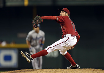 PHOENIX, AZ - JULY 08:  Starting pitcher Trevor Bauer #17 of the Arizona Diamondbacks pitches against the Los Angeles Dodgers during the MLB game at Chase Field on July 8, 2012 in Phoenix, Arizona. The Diamondbacks defeated the Dodgers 7-1.  (Photo by Chr