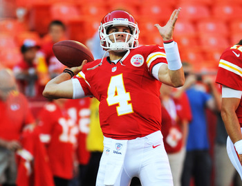 August 10, 2012; Kansas City, MO, USA; Kansas City Chiefs quarterback Alex Tanney (4)  throws a pass during warmup before the game against the Arizona Cardinals at Arrowhead Stadium. Mandatory Credit: Denny Medley-US PRESSWIRE