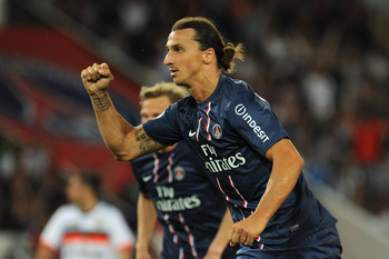Zlatan Ibrahimovic celebrating a goal