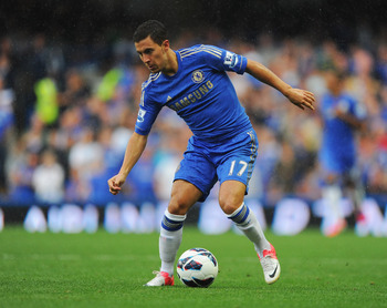Eden Hazard dribbling the ball
