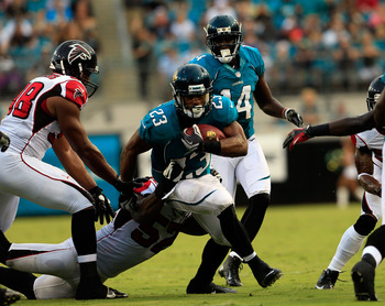Jacksonville Jaguars RB Rashad Jennings proving his worth in their Aug. 30 preseason game in Jacksonville.