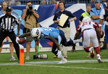 Tennessee Titan WR Kendall Wright stretching for a touchdown in an Aug. 23 preseason game in Tennessee.