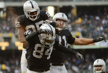 Oakland Raiders WR Juron Criner celebrating a touchdown in their Aug. 25 preseason game.