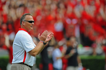 September 1, 2012; Athens, GA, USA; Georgia Bulldogs head coach Mark Richt prior to the game against the Buffalo Bulls at Sanford Stadium. Mandatory Credit: Kevin Liles-US PRESSWIRE
