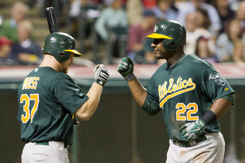 Chris Carter and Brandon Moss, one of four regular A's platoons