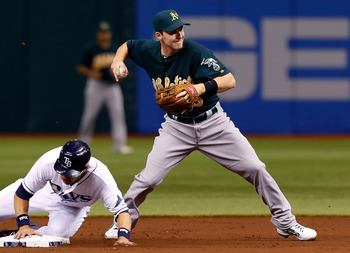 ST PETERSBURG, FL - AUGUST 23:  Infielder Stephen Drew #5 of the Oakland Athletics turns a double play as Ben Zobrist #18 of the Tampa Bay Rays tries to break it up during the game at Tropicana Field on August 23, 2012 in St. Petersburg, Florida.  (Photo