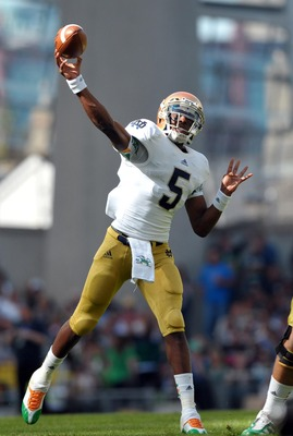 Sep 1, 2012; Dublin, IRELAND; Notre Dame Fighting Irish quarterback Everett Golson (5) throws the ball in the second quarter against the Navy Midshipmen at Aviva Stadium. Mandatory Credit: Matt Cashore-US PRESSWIRE