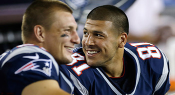 The best tight end duo in football. (Elise Amendola/AP via NFL.com)