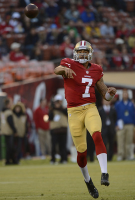 SAN FRANCISCO, CA - AUGUST 30:  Colin Kaepernick #7 of the San Francisco 49ers throws a thirty two yard touchdown pass to Delanie Walker #46 (not pictured) in the first quarter against the San Diego Charger during an NFL pre-season football game at Candle