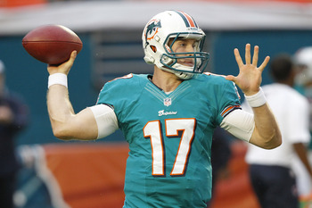 MIAMI GARDENS, FL - AUGUST 24: Ryan Tannehill #17 of the Miami Dolphins throws the ball prior to the preseason game against the Atlanta Falcons on August 24, 2012 at Sun Life Stadium in Miami Gardens, Florida. (Photo by Joel Auerbach/Getty Images)