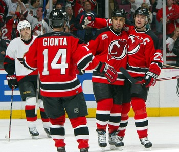 Brian Gionta, Scott Gomez and Patrik Elias as New Jersey Devils.