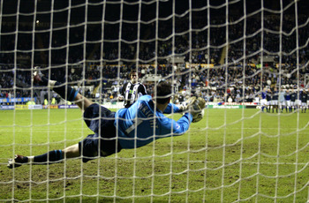 NEWCASTLE - NOVEMBER 6:  Goalkeeper Richard Wright of Everton saves penalty from Hugo Viana of Newcastle United during the Worthington Cup Third Round match between Newcastle United and Everton on November 6, 2002 played at St. James' Park in Newcastle, E
