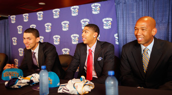 Monty Williams ( far right) will be faced with higher expectations now that Austin Rivers and Anthony Davis are on the Hornets.