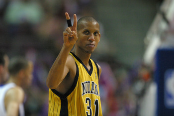 AUBURN HILLS, MI - MAY 11:  Reggie Miller #31 of the Indiana Pacers gestures in Game two of the Eastern Conference Semifinals against the Detroit Pistons during the 2005 NBA Playoffs on May 11, 2005 at The Palace in Auburn Hills, Michigan. The Pacers won