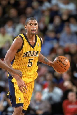 3 Jan 2001:  Jalen Rose #5 of the Indiana Pacers dribbles the ball during the game against the Seattle SuperSonics at the Key Arena in Seattle, Washington.  The Pacers defeated the SuperSonics 91-83.   NOTE TO USER: It is expressly understood that the onl