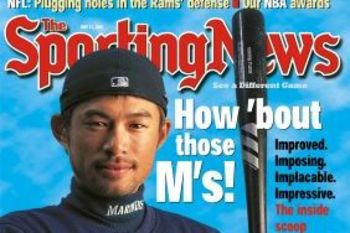Ichiro Suzuki on the cover of the Sporting News from his rookie season. Source:Sambrief.com.