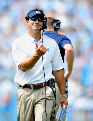 Larry Fedora has trouble holding back his smile on this day.