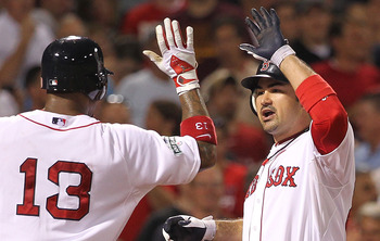 Former Red Sox Adrian Gonzalez and Carl Crawford.