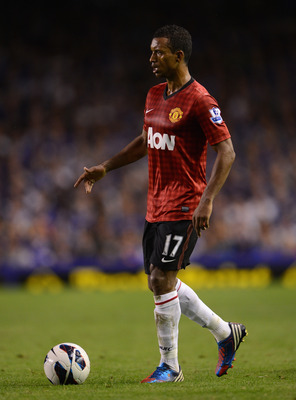 Nani holding up possession against Everton.