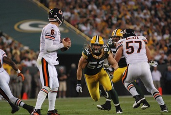 Clay Matthews zeroes in on Jay Cutler. Raymond T. Rivard photograph