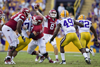 Arkansas quarterback Tyler Wilson is fighting for the chance to be the top quarterback taken in the 2013 NFL Draft.