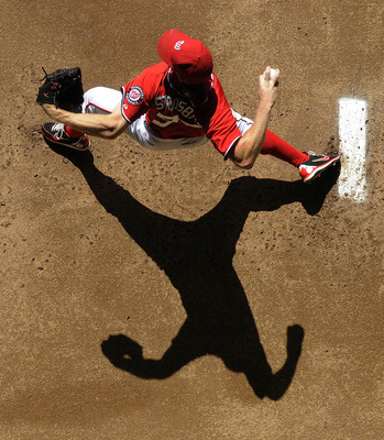 WASHINGTON, DC - JUNE 02:  Stephen Strasburg #37 of the Washington Nationals warms up in the bullpen before his start against the Atlanta Braves during the sixth inning of their game at Nationals Park on June 2, 2012 in Washington, DC.  (Photo by Jonathan