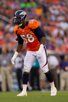 DENVER, CO - AUGUST 18:  Linebacker Von Miller #58 of the Denver Broncos in action against the Seattle Seahawks at Sports Authority Field Field at Mile High on August 18, 2012 in Denver, Colorado. (Photo by Justin Edmonds/Getty Images)