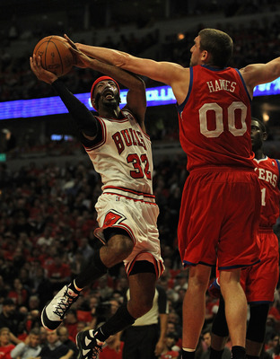 CHICAGO, IL - MAY 01: Richard Hamilton #32 of the Chicago Bulls tries to get off a a shot against Spencer Hawes #00 of the Philadelphia 76ers in Game Two of the Eastern Conference Quarterfinals during the 2012 NBA Playoffs at the United Center on May 1, 2