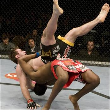 Jones suplexes Stephan Bonnar.