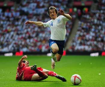 Baines in his only competitive appearance for England, a June 4, 2011 Euro qualifier against Switzerland.
