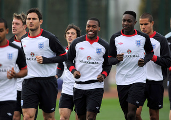 Sturridge (center) and Welbeck (right, foreground) could feature on Friday.
