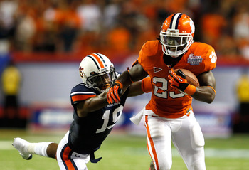 Andre Ellington carries Clemson to a win over Auburn with 26 carries for 231 yards.