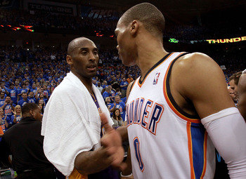 OKLAHOMA CITY, OK - MAY 21:  (L-R) Kobe Bryant #24 of the Los Angeles Lakers talks with Russell Westbrook #0 of the Oklahoma City Thunder after a 106-90 loss during Game Five of the Western Conference Semifinals of the 2012 NBA Playoffs at Chesapeake Ener