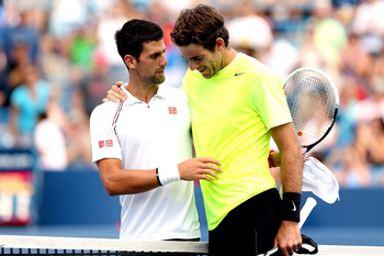 Del Potro and Djokovic after match at Western Open