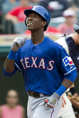 CLEVELAND, OH - SEPTEMBER 02: Jurickson Profar #2 of the Texas Rangers celebrates after hitting a solo home run at his first MLB at bat during the third inning against the Cleveland Indians at Progressive Field on September 2, 2012 in Cleveland, Ohio. (Ph