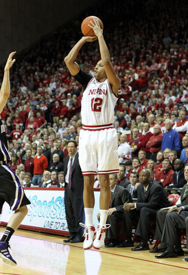 BLOOMINGTON, IL - FEBRUARY 15:  Verdell Jones III #12 of the Indiana Hoosiers shoots the ball during the Big Ten Conference game against the Northwestern Wildcats at Assembly Hall on February 15, 2012 in Bloomington, Indiana.  (Photo by Andy Lyons/Getty I