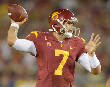 Sep 1, 2012; Los Angeles, CA, USA; Southern California Trojans quarterback Matt Barkley (7) throws a pass against the Hawaii Warriors at the Los Angeles Memorial Coliseum. Mandatory Credit: Kirby Lee/Image of Sport-US PRESSWIRE