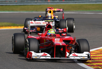 The Ferrari was moving towards a low downforce set-up at Spa