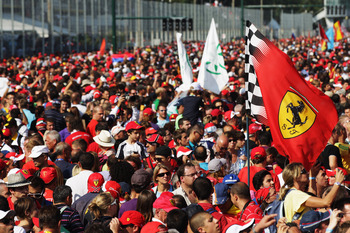 The throng of Ferrari support at Monza