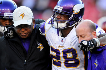 Minnesota Vikings running back Adrian Peterson after going down in a Dec. 24 game with an ACL tear.