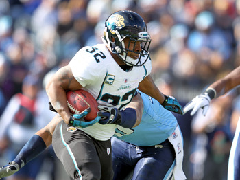 Jacksonville Jaguars running back Maurice Jones-Drew breaking a tackle in their Dec. 24 game game against Tennessee.