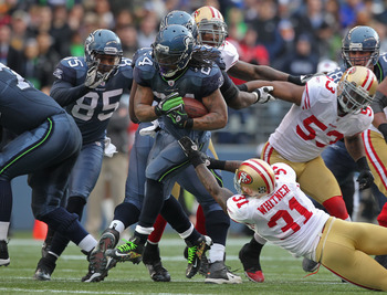 Seattle Seahawks running back Marshawn Lynch showing his elusiveness in a Dec. 24 game against San Francisco.
