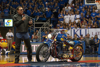Coach Bill Self rode into Allen Fieldhouse on a Jayhawks Harley. (flickrhivemind.net)