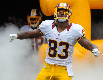 Aug 25, 2012; Landover, MD, USA; Washington Redskins tight end Fred Davis (83) is introduced before the game against the Indianapolis Colts at FedEX Field. Mandatory Credit: Brad Mills-US PRESSWIRE
