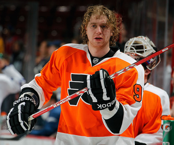 PHILADELPHIA, PA - FEBRUARY 09: Jakub Voracek #93 of the Philadelphia Flyers is seen in warmups before an NHL hockey game against the Toronto Maple Leafts at Wells Fargo Center on February 9, 2012 in Philadelphia, Pennsylvania.  (Photo by Paul Bereswill/G