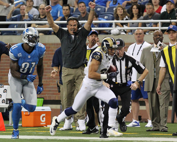 Cortland Finnegan returns a Matthew Stafford interception for a touchdown.