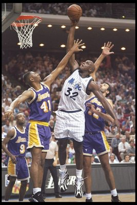 Eldon Campbell (41) wasn't bad, just overrated.  Here he is being dunked on by Shaquille O'Neal the season before he was signed by the Lakers.