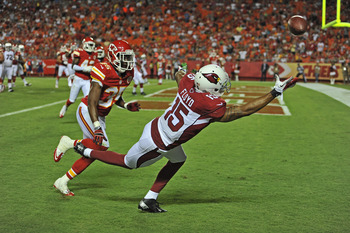 Floyd dives for a pass in the end zone against the Chiefs.